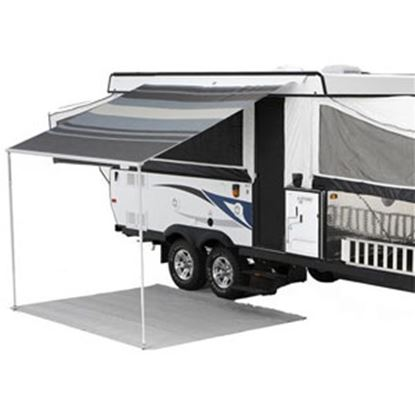 """Picture of Carefree Campout Black/Gray Vinyl 8' 5""""L X 6' 6""""Ext Adj Pitch Manual Bag Awning 981018D00 00-1018"""