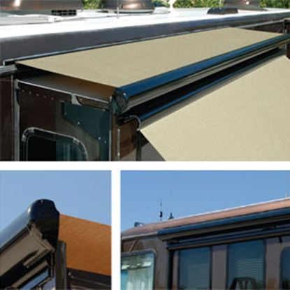 """Picture of Carefree Ascent Solid Black Vinyl 144-149"""" Roof X 42""""Ext Power Slide-Out Awning KB14862JV42 00-9909"""