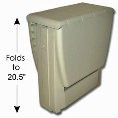 """Picture of B&R Plastics Magic Table 17""""L x 12""""W x 20-1/2""""H Beige Plastic Folding Table 150-01BG 03-0984"""