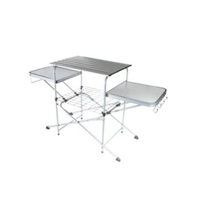 "Picture of Camco  57-3/4""L x 19""W x 32""H Polished Aluminum/Steel Folding Grill Table 57293 03-1021"