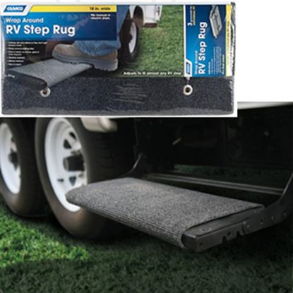 """Picture of Camco  18"""" Wide Gray Wrap-Around Step Rug 42925 04-0311"""