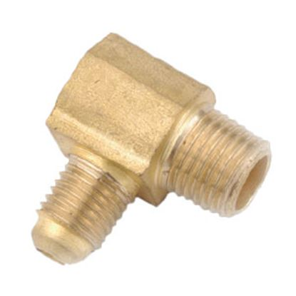 """Picture of Anderson Metal LF 7409 Series 3/8"""" OD Tube 45 Deg SAE Flare x 3/8"""" MPT Brass Fresh Water 90 Deg Elbow 704049-0606 06-1277"""