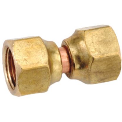 """Picture of Anderson Metal LF 7700 Series 1/2"""" OD Tube 45 Deg SAE Flare Swivel Nut Brass Fresh Water Straight Fitting 704070-08 06-1311"""