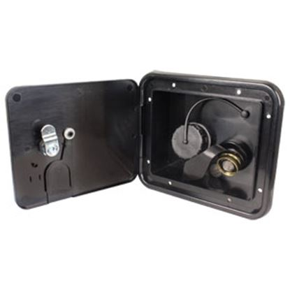 """Picture of JR Products  Black 5-7/8""""RO Lockable Water Hatch Access Door w/Tank Vent Connection K7113-6-A 10-0037"""