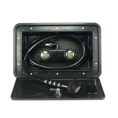 Picture of Dura Faucet  Black Lockable Exterior Shower Box Kit w/ Smoke Knobs DF-SA170-BK 10-0843
