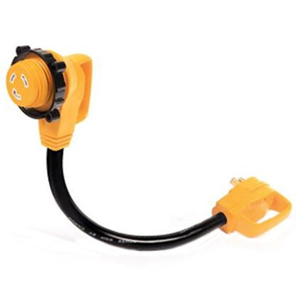 """Picture of Camco Power Grip (TM) 18"""" 30F/30M 90 Deg Locking Power Cord Adapter 55522 19-0637"""