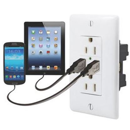 Picture of Diamond Group  White 125V/ 3A Dual Receptacle w/ 2 USB Ports DG61070VP 19-1643