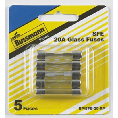 Picture of Bussman  5-Pack 20A SFE Glass Tube Fuse BP/SFE-20-RP 19-3441