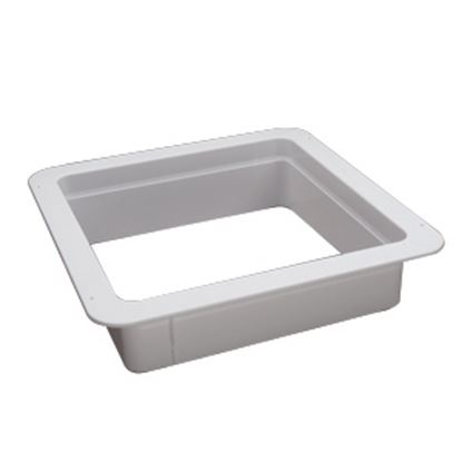 """Picture of Heng's  White 1-1/8"""" Deep for 14""""x14"""" Opening Radius Roof Vent Garnish 90090B 22-0157"""