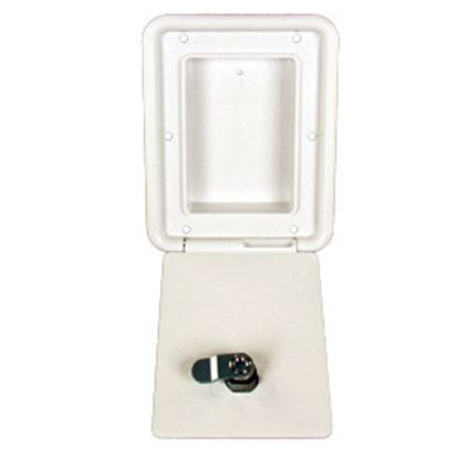 "Picture of JR Products  Polar White 4-3/8""RO Lockable OEM Utility Hatch Access Door D6102-A 22-0551"