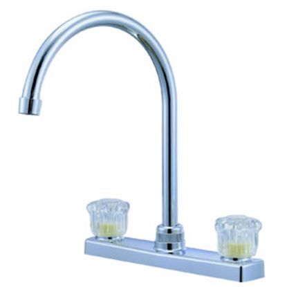 """Picture of Relaqua  Chrome w/Clear Knobs 8"""" Kitchen Faucet w/Hi-Arc Spout AK-227SC 69-7063"""