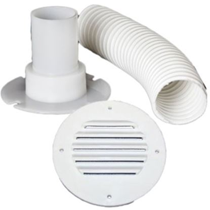 "Picture of MTS  Colonial White Battery Box Louvered Vent w/9"" Hose 275 69-9322"